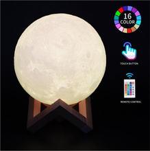 3d Лунная лампа 16 цветов светодиодный Ночной светильник с изменением