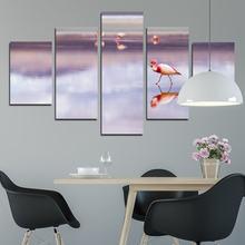 5 шт Картина на холсте «розовая птица ледяном озере»