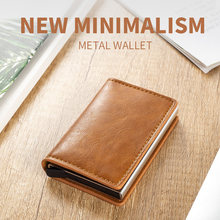 2020 Men Metal Card Holder RFID Aluminium Alloy Credit Card Holder PU Leather Wallet Antitheft Men Automatic Pop Up RFID Wallet(China)