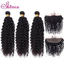 Mongol crépus bouclés cheveux paquets avec Frontal 13*4 pré plumé Frontal Remy 100% cheveux humains 3 paquets avec fermeture à lacet Shireen