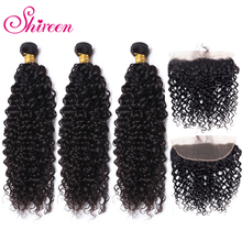Mongolian Kinky Curly Hair Bundles With Frontal 13*4 Pre Plucked Frontal Remy 100% Human Hair 3Bundles With Lace Closure Shireen