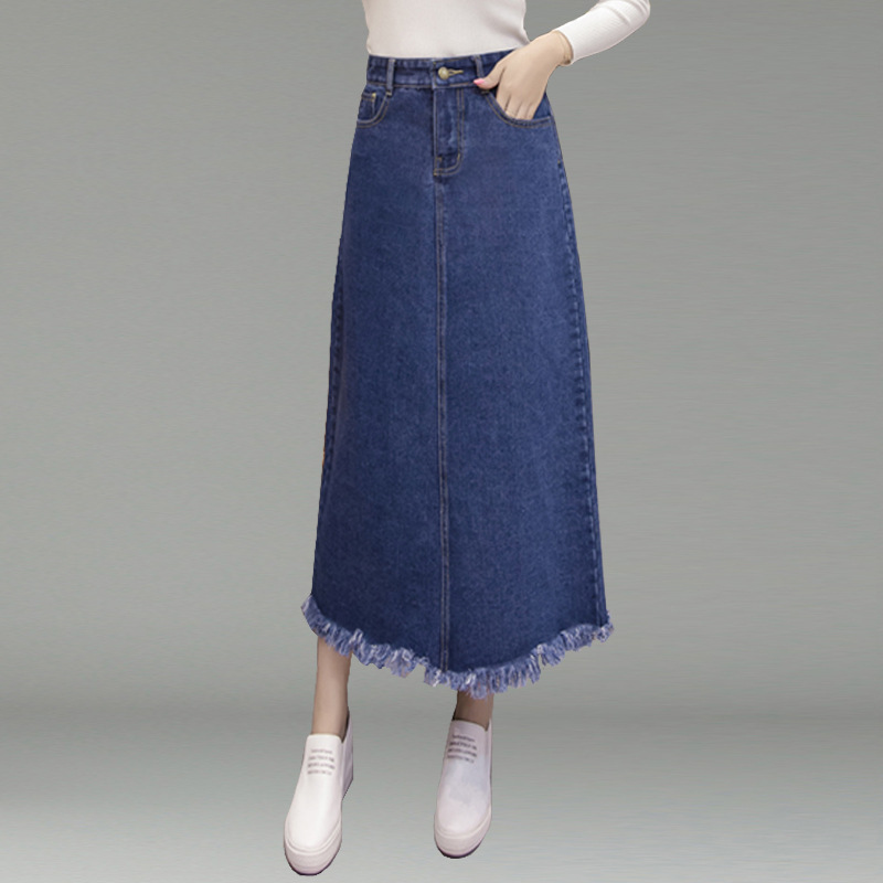 2020 Spring&Autumn New Denim Blue Women Long Skirt A- Line Jupe Femme OveSize Casual Tassel Skirt Plus Size Cotton Free Shipping