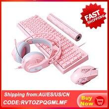 Zestawy do gry mechaniczne zestaw słuchawkowy z klawiaturą zestaw słuchawkowy Cute Pink Mechanical Teclado 3200 DPI zestaw słuchawkowy z myszką optyczną na komputer dla graczy