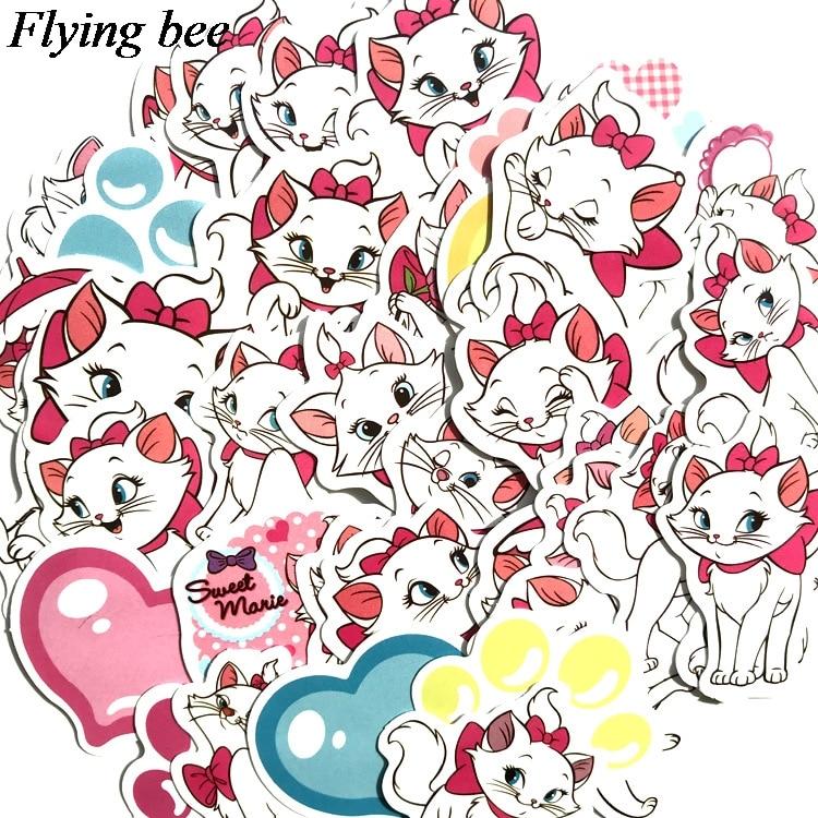 38 Flyingbee 38 יח מארי חתול kawaii אופנה מדבקה מדבקות Pvc רעיונות מדבקה עבור מחברת טלפון נייד DIY אביזרי X0712 (5)