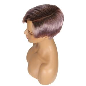 Image 4 - Trueme perruque coupe Pixie, coiffure sur dentelle avec partie courbée, court, couleur Ombre 613, blond, violet, rouge, 100% cheveux humains, brésilien