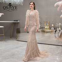 QSYYE 2019 pretty Long Prom Dresses v neck trumpet court train spaghetti strap floor Length court train Evening Dress Party Gown