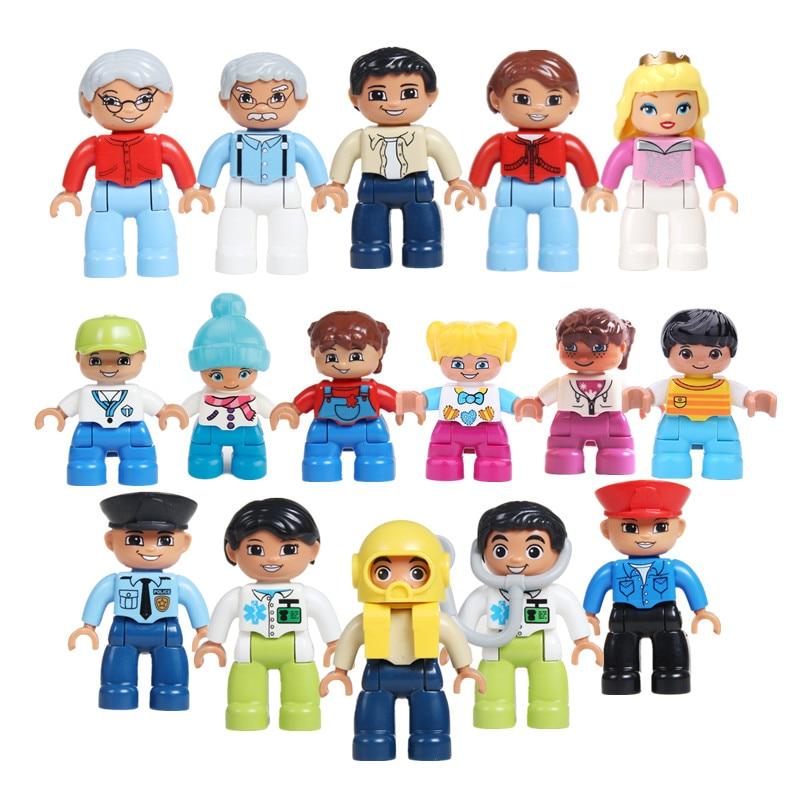 5 pçs 10 pçs grandes blocos de construção bonecas crianças role play jogos figuras blocos compatíveis peças