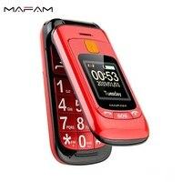 Flip doble Dual pantalla Dual SIM SOS clave Speed Dial contacto letra teclado ruso FM superior del teléfono móvil para la gente vieja|Teléfonos móviles| |  -