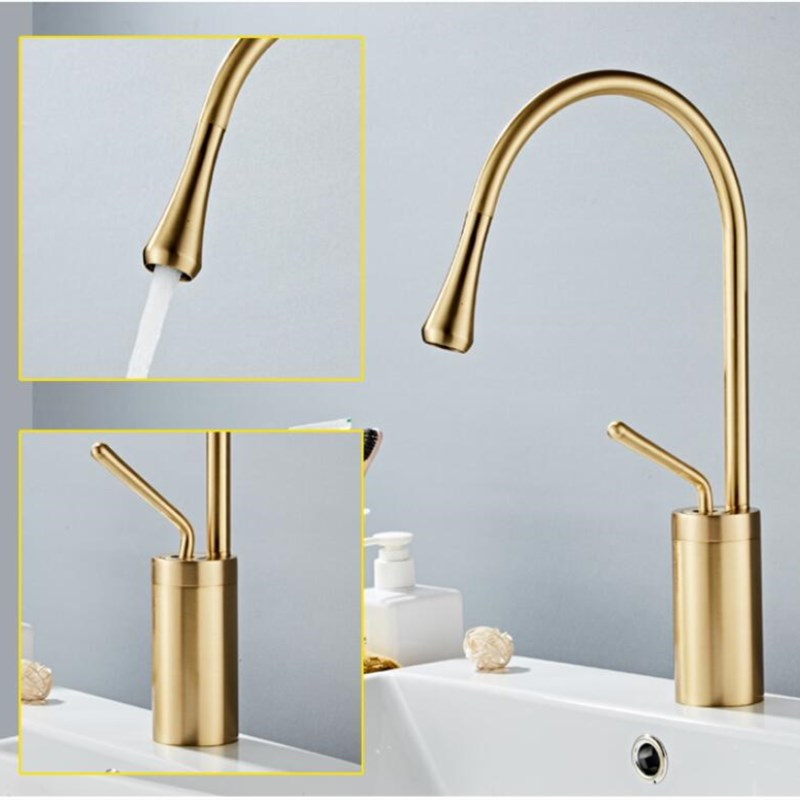 Image 4 - New Basin Faucet Single Lever 360 Rotation Spout Moder Brass Mixer Tap For Kitchen Or Bathroom Basin Water Sink Mixer gold brush-in Basin Faucets from Home Improvement