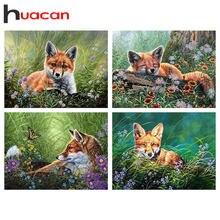 Huacan Voll Platz Diamant Malerei Blume 5D Diamant Stickerei Tier Fuchs Bilder Von Strass Mosaik Handwerk Kit