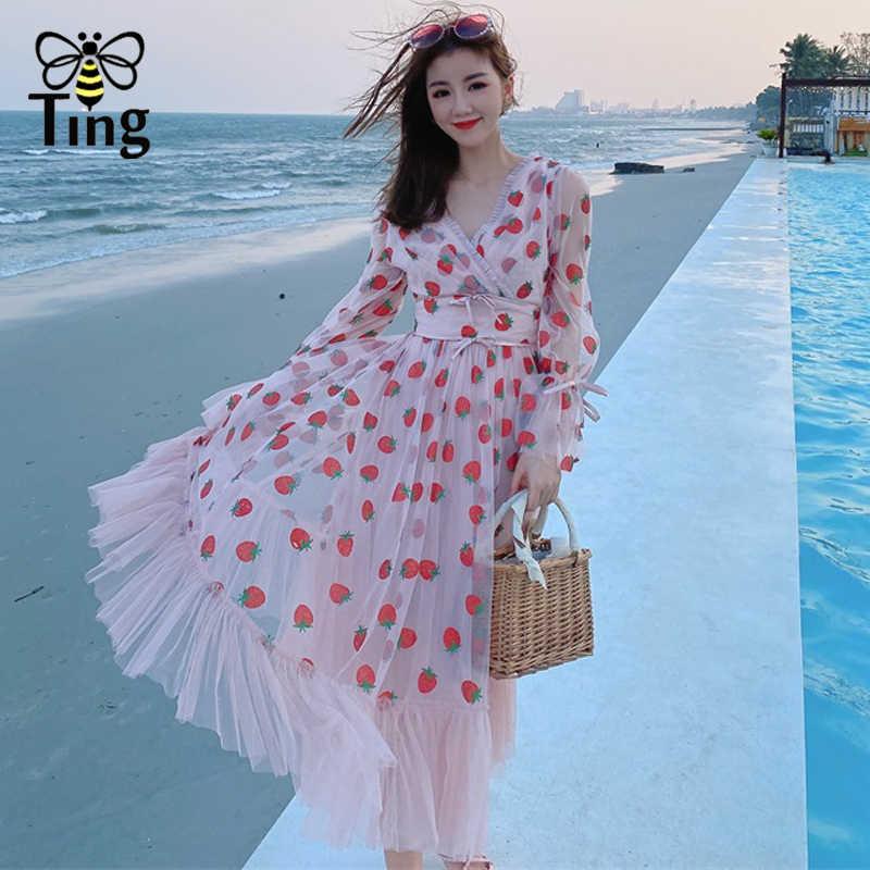 Tingfly Vogue Summer Fashion Glitter Strawberry Print Pink Party Birthday Dresses Long Sleeve Midi Casual Street Chic Robe Elbis Kleider Aliexpress
