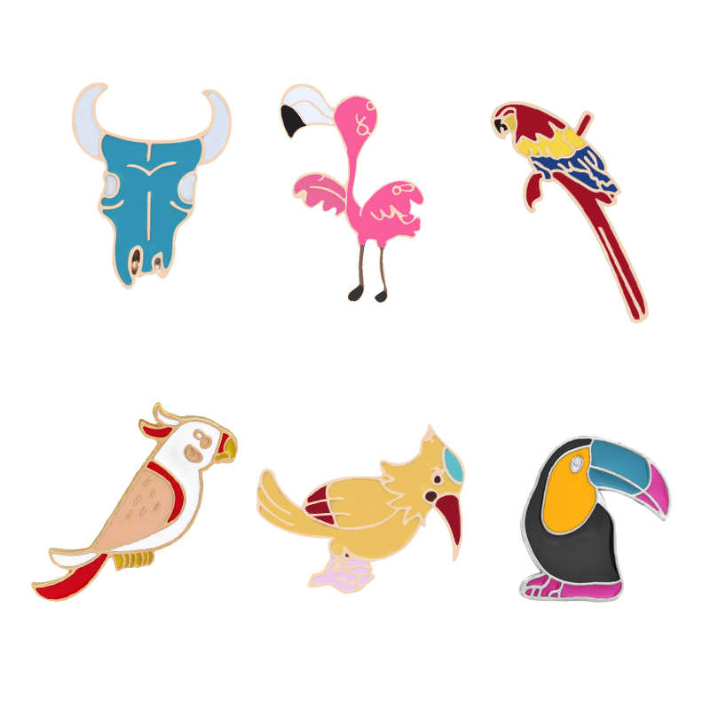 Cartoon Vogel Toucan flamingo papagei specht Bull Kopf Emaille Pins Broschen Jacken Revers Pin Mantel Abzeichen Mode Schmuck Geschenke