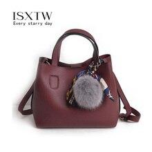 ISXTW2019 Creative Scarf Design Pu Leather Ladies Bucket Mother Bag Shoulder Messenger Handbag / B18