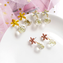 Trend creative forest department beautiful resin flower stud earrings campus female fashion jewelry