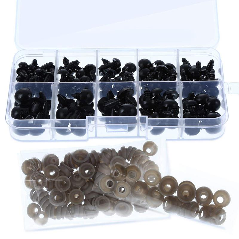 142 Pieces Black Plastic Safety Eyes Craft with Washers and Storage Box for Toys Dolls Making, 5 Sizes