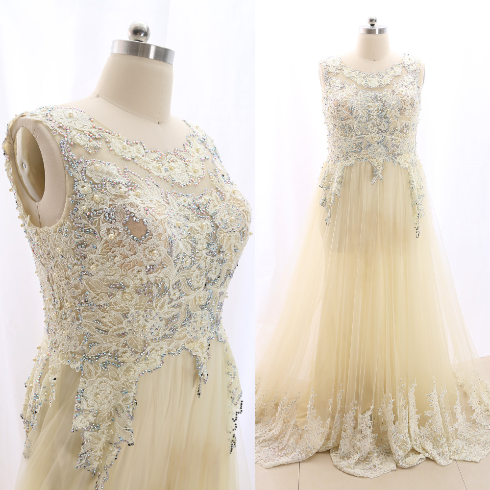MACloth Yellow Sweep Train O Neck Floor-Length Long Embroidery Tulle   Prom     Dresses     Dress   20W(20W) 266631 Clearance