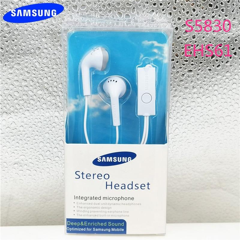 Novo original samsung s5830 ehs61 fones de ouvido intra-auriculares 3.5mm esporte fones de ouvido com fio tipo linha para a70 a50 s7 s9 s10 a10 a30 mic