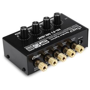 Image 1 - ABKT Lynepauaio Headphone Splitter 1 Input 4 Out Headphone Speaker Splitter Comparator Output Independent Volume Adjustment With