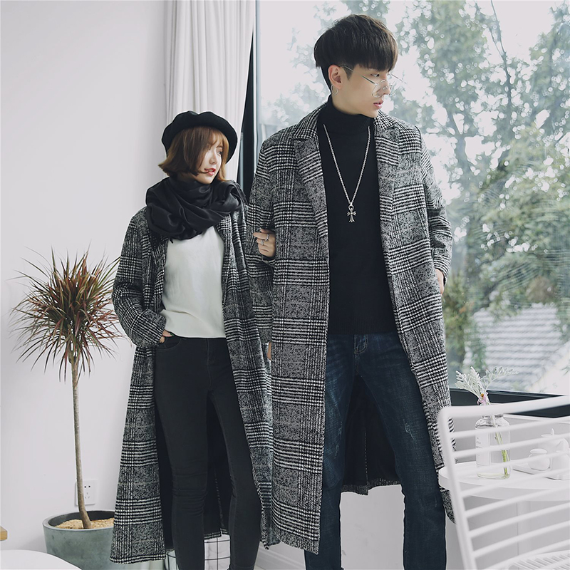 Autumn Winter Couple Houndstooth Long Slim Men Wool Trench Coat Windbreaker New Fashion Male Coat Long Design Trench