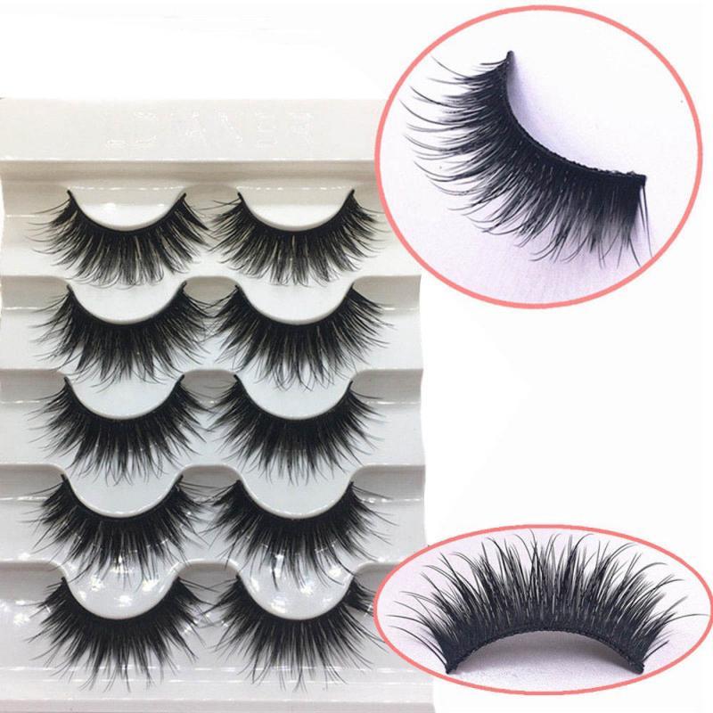 Mink 3D Curly Thick False Eyelashes 5 Pairs  Long Thick Soft Fake Eye Lashes Wispy Cross False Eyelashes Natural Fake Eyelashes