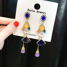 S925 silver needle retro tassel earrings Europe and the United States exaggerated baroque long - style for women