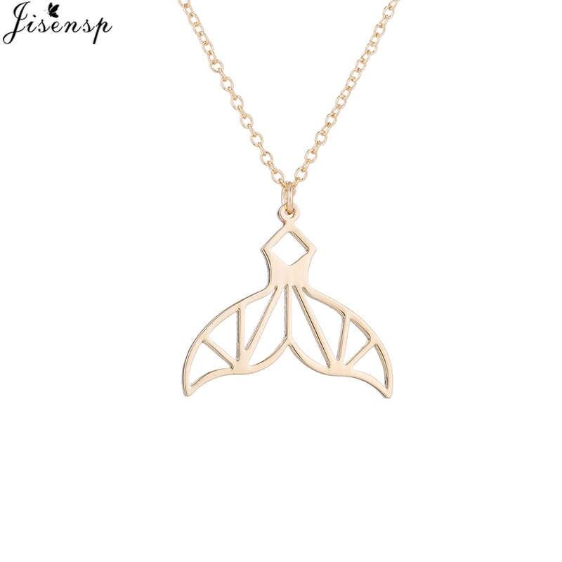 Jisensp Vintage Origami Stainless Steel Ekor Putri Duyung Liontin Kalung untuk Wanita Wanita Halus Pesta Ulang Tahun Hadiah Perhiasan