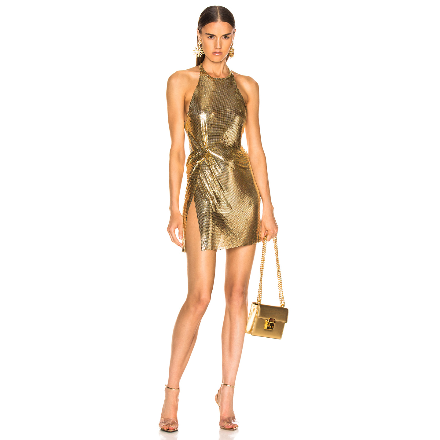 High Quality Celebrity Fashion Gold Black Bodycon Dress Homecoming Party Dress
