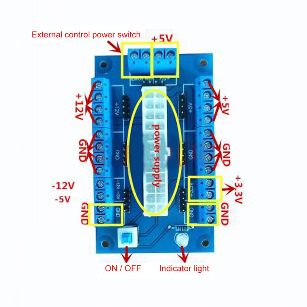 Brand-New Design PC 24/20Pin ATX-DC Power Supply Breakout Board Module Adapter переходник DIY Accessories PC Module Durable