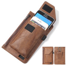 Universele Telefoon Zakje Voor Iphone Samsung Huawei Xiaomi Case Pu Leather Cover Belt Clip Holster Zakken Met Kaart/Pen houder Fundas