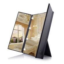 Светодиодный Зеркало для нанесения макияжа заполнить светильник зеркало со складным зеркалом Портативный косметическое зеркало гардеробным зеркалом трансграничной макияж зеркало