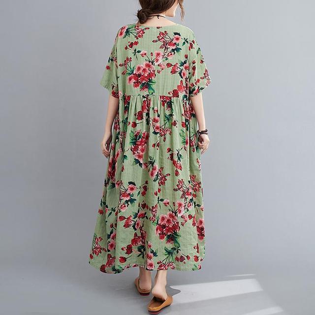 Plus Size Floral Summer Beach Dress Korean Cotton Ladies Dresses for Women 4XL 5XL 6XL Vintage Print Oversized Long Dress 2020 4