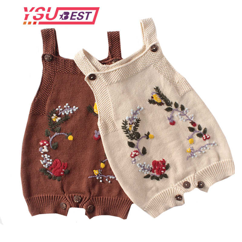 2020 Baby Bodysuit Knitted Girls Onesie Newborn Princess Girls Coveralls Embroidery Flowers Infant Toddler Sleeveless Jumpsuits
