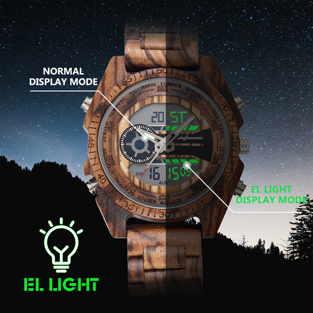 SHIFENMEI Men's Combined Analog and Digital Wooden Watch