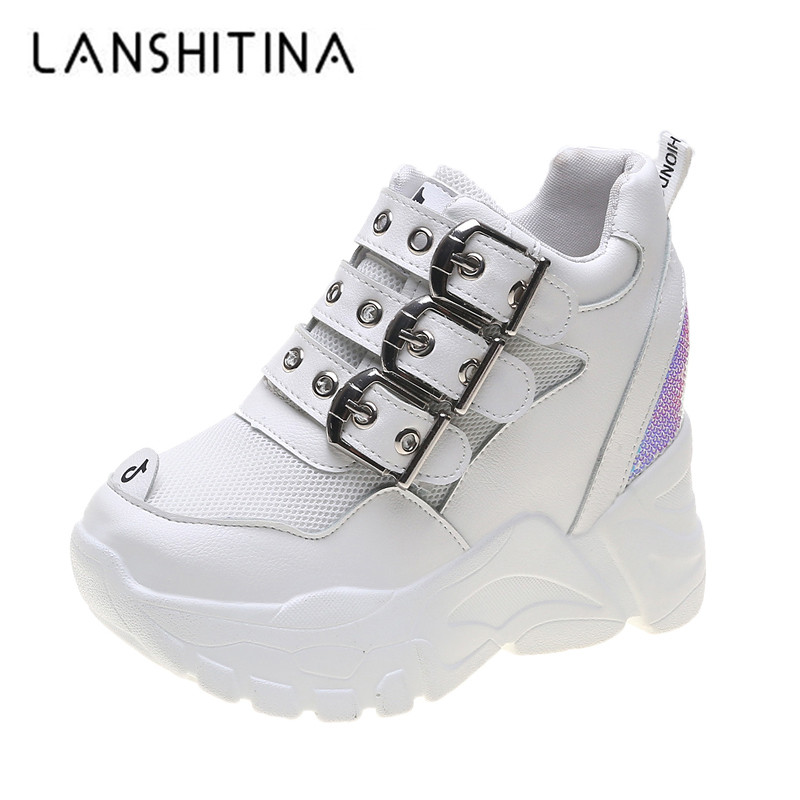 2019 New Autumn Sneakers Women Breathable Mesh Casual Trainers White Shoes 9CM Heels Wedge Chunky Shoes Platform Bling Sneakers