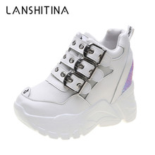 2019 New Autumn Sneakers Women Breathable Mesh Casual Trainers White Shoes 9CM Heels Wedge Chunky Platform Bling