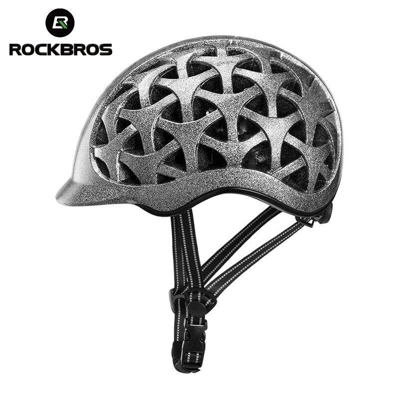 Spor ve Eğlence'ten Bisiklet Kaskı'de ROCKBROS bisiklet bisiklet kask Unisex entegral molde nefes darbeye dayanıklı yansıtıcı MTB yol bisikleti güvenli şapka bisiklet ekipmanları title=
