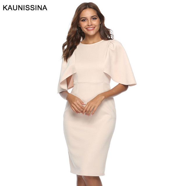 KAUNISSINA Elegant Cocktail Dress Bodycon Solid Knee Length Formal Party Gowns Back Split Robe Homecoming Dresses