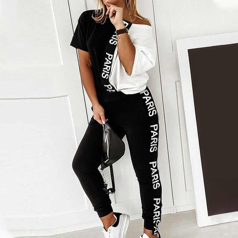 Mulher carta de impressão fora do ombro 2 peça conjunto verão preto branco colorblock manga curta topo e casual calça longa feminino agasalho
