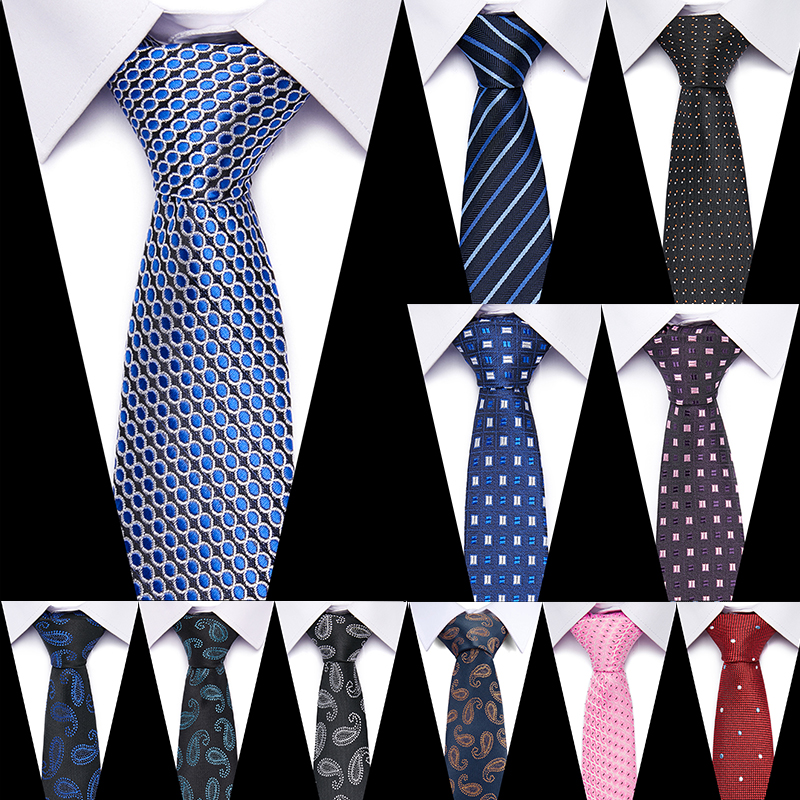 New Flomal Mens Tie 100% Silk 7.5 Cm Jacquard Woven  Necktie Lattice Ties Business Wedding Party