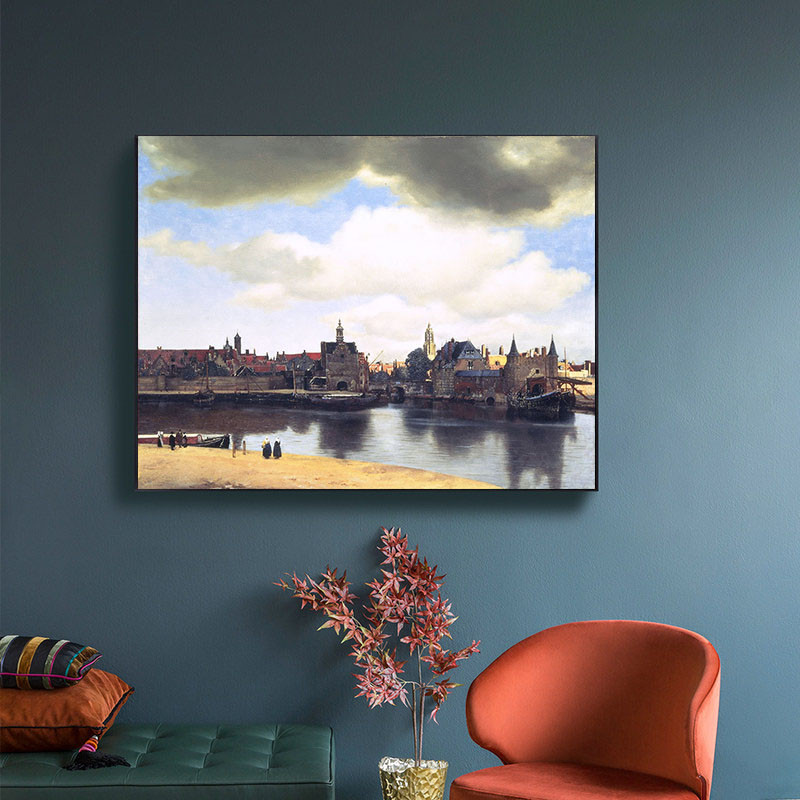 Famous Oil Painting Delft Scenery Painted By Vermeer Prints on Canvas Art Posters Wall Art Picture for Living Room Home Decor(China)