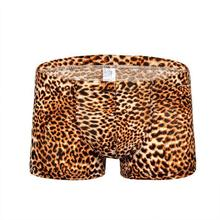 DSstyles Leopard Print Breathable with Convex Pouch Mens spurred four-pointed leopard low waist sexy breathable