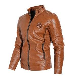 Image 3 - חדש 2019 סתיו וחורף מודלים בתוספת קטיפה גברים של עור צווארון צווארון PU אופנוע עור מעיל מעיל