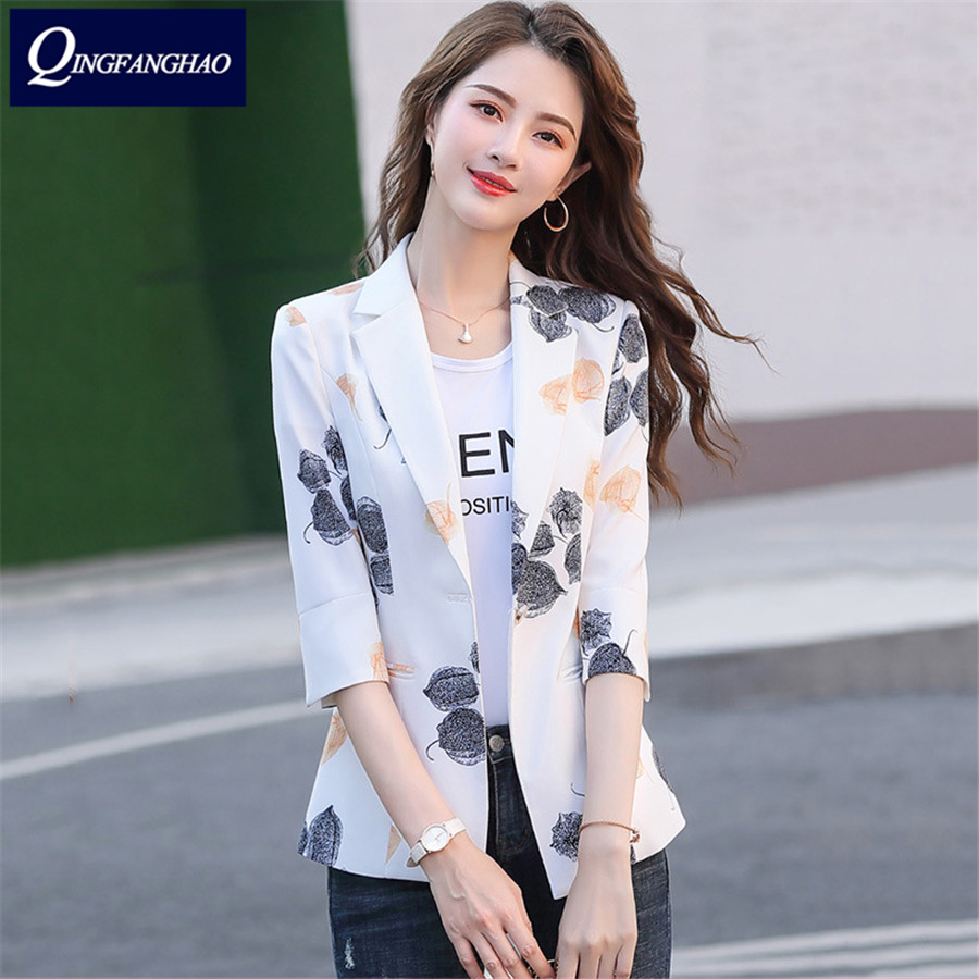 2020 Spring New Printed Blazer Women Short Sleeve Small Coat Women's Workwear Slim Fit Thin