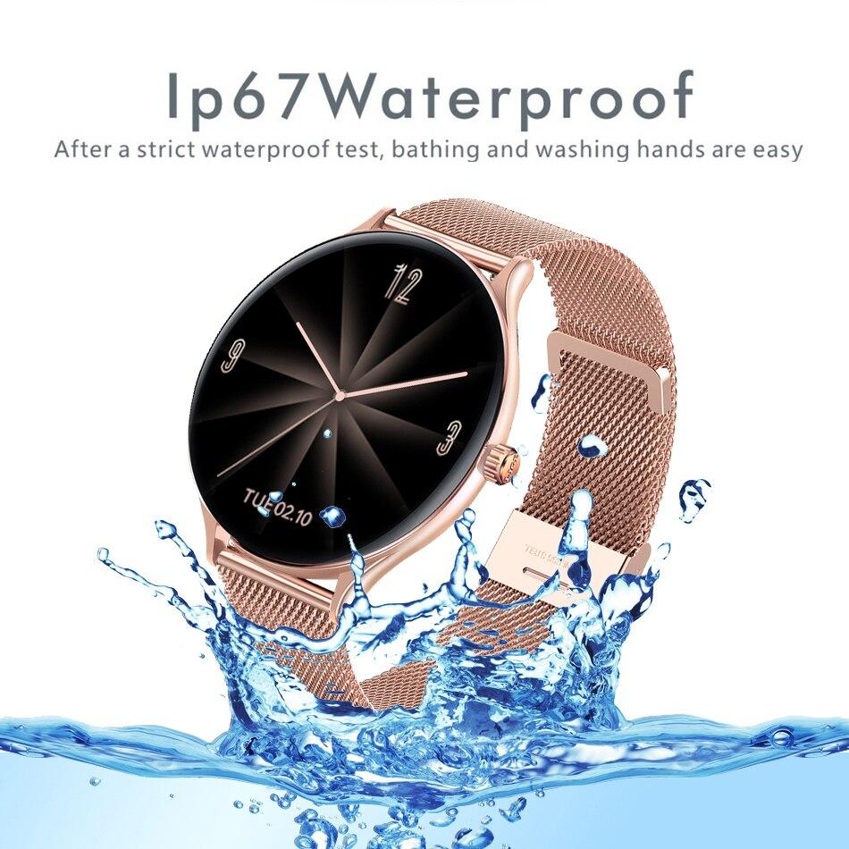 Hcd711411f5fd402ead8f06a34ac9c643K 2021 New Full circle touch screen Women smart watch Luxury steel Watch Band Fashion smartwatch Sport Activity tracker For Xiaomi