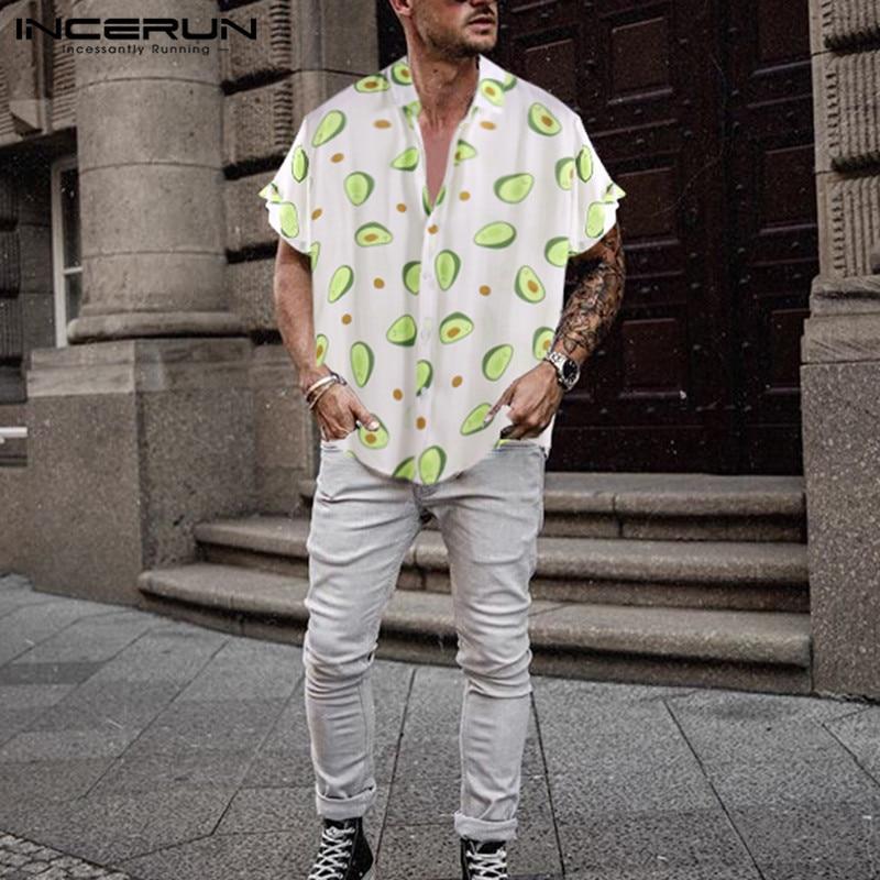 INCERUN Men Short Sleeve Lapel Printed Shirts Summer Hawaiian Beach Blouse Man Buttons Camisa Casual Avocado Floral Shirts S-5XL