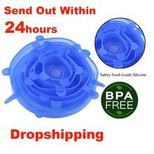 دروبشيبينغ 6 قطعة/المجموعة أغطية سيليكون دائم قابلة لإعادة الاستخدام حفظ الطعام غطاء الحرارة مقاومة يناسب جميع الأحجام والأشكال من حاويات