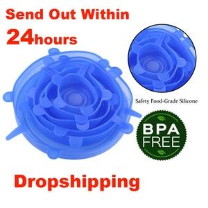 Image 1 - دروبشيبينغ 6 قطعة/المجموعة أغطية سيليكون دائم قابلة لإعادة الاستخدام حفظ الطعام غطاء الحرارة مقاومة يناسب جميع الأحجام والأشكال من حاويات