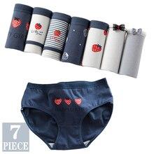 7PCS Panties for Women Girls Underwear Cotton Panties Cute Briefs Sexy Lingerie Cueca Calcinhas Underpant Female Plus Size Panty