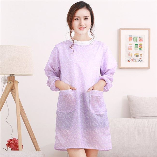 Korean-style Kitchen Oil Resistant Long Sleeve Overclothes-Style Work Clothes Women's Household Thin Adult Protective Clothing C