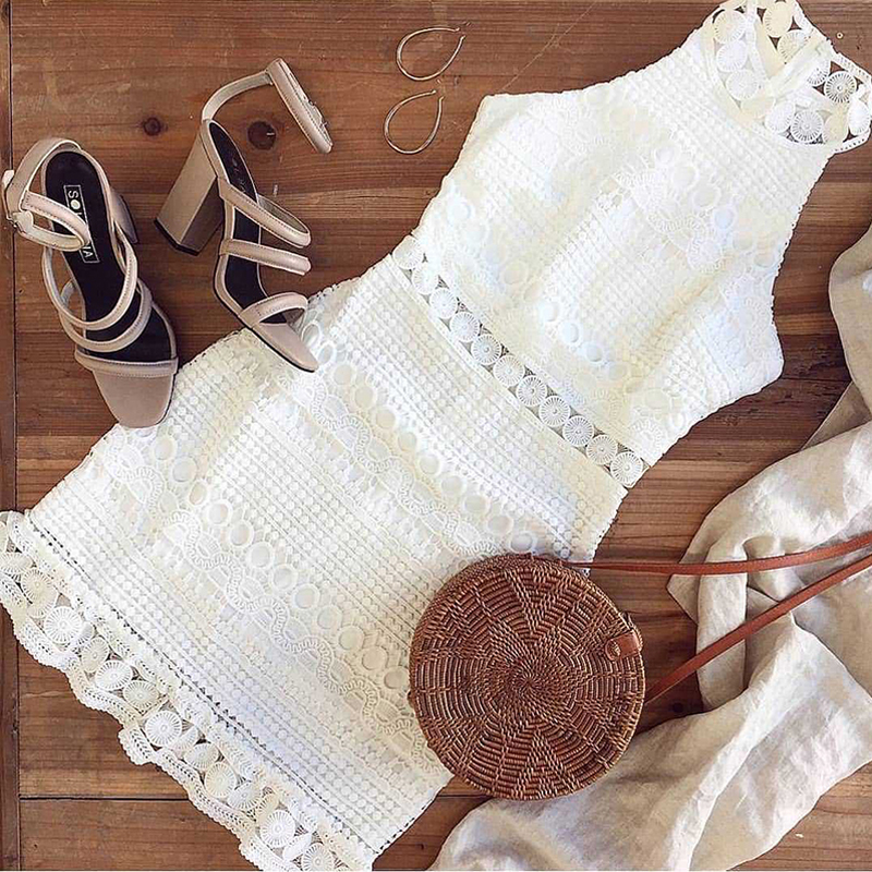 Lossky Sexy Lace Stitching Hollow Out Dress Elegant Women Sleeveless White Summer Chic Short Club Party Clothes Dresses 2020 2